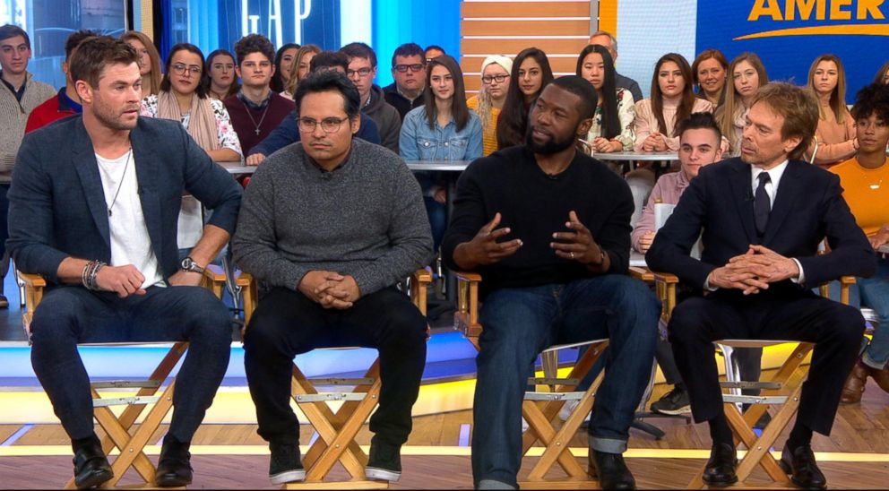 "PHOTO: Co-stars Chris Hemsworth, Michael Pena, Trevante Rhodes and producer Jerry Bruckheimer discussed their new movie ""12 Strong"" on ""Good Morning America,"" Jan. 15, 2018."