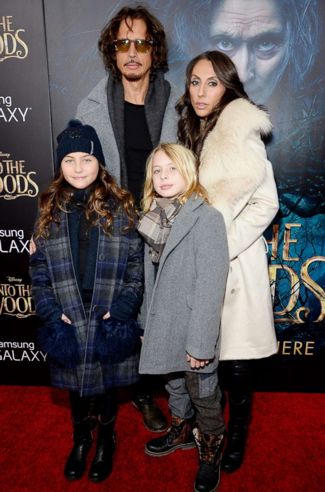 PHOTO: Chris Cornell and Vicky Karayiannis and their children attend the world premiere of Into the Woods at the on Dec. 8, 2014, in New York City.