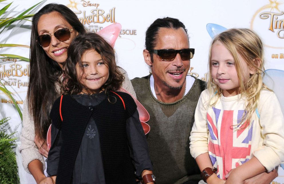 PHOTO: Chris Cornell, his wife Vicky Karayiannis and their children arrive to a special screening of Tinker Bell And The Great Fairy Rescue on Aug. 28, 2010, in Beverly Hills, Calif.
