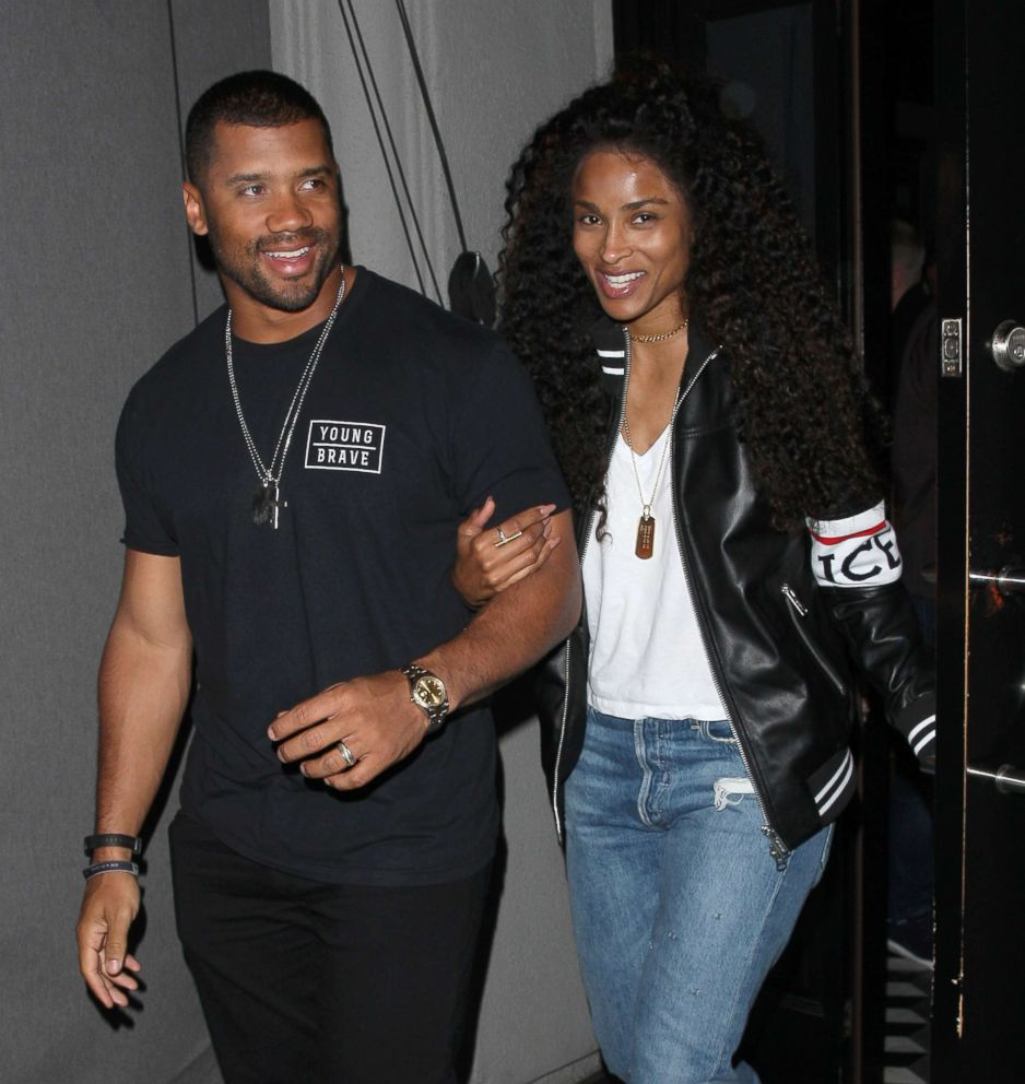 PHOTO: Ciara and Russell Wilson are all smiles as they leave Craigs Restaurant after having dinner in West Hollywood, Calif, March 9, 2018.
