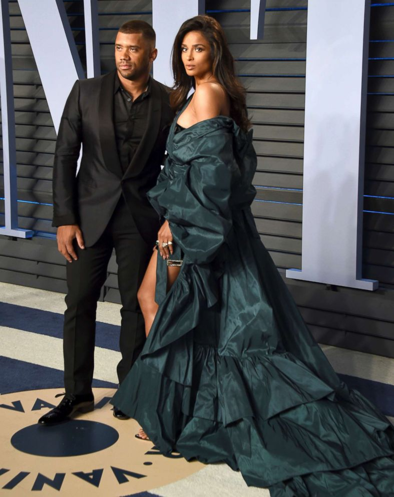 PHOTO: Russell Wilson, left, and Ciara arrives at the Vanity Fair Oscar Party, March 4, 2018, in Beverly Hills, Calif.