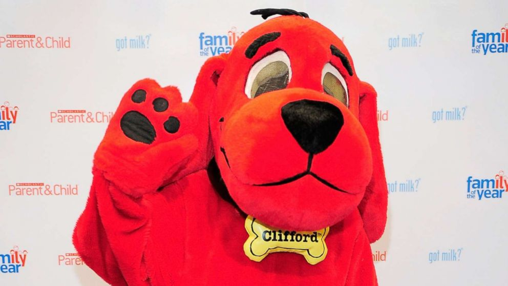 "Cartoon personality Clifford the Big Red Dog poses for photos before at the Scholastic Parent & Child's ""Family of the Year"" event at Scholastic Flagship Store, May 25, 2010, in New York."