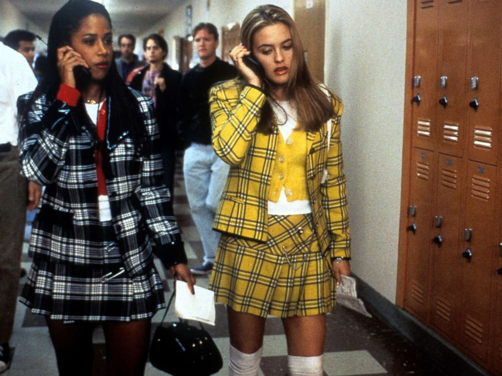 PHOTO: Stacey Dash and Alicia Silverstone talk on their mobile phones in a scene from the film Clueless, 1995.