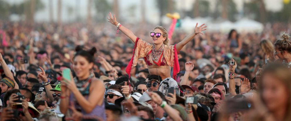 PHOTO: Festivalgoers attend day 3 of the 2017 Coachella Valley Music & Arts Festival at the Empire Polo Club on April 23, 2017 in Indio, Calif.