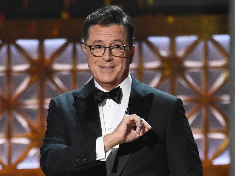 PHOTO: Host Stephen Colbert speaks at the 69th Primetime Emmy Awards on Sept. 17, 2017, at the Microsoft Theater in Los Angeles.