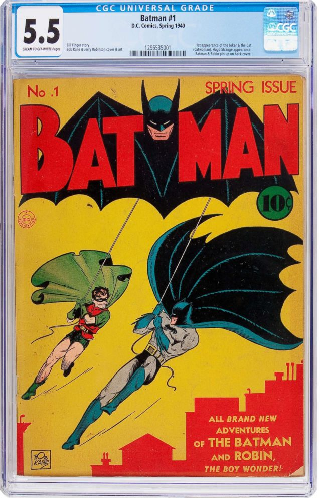A copy of Batman #1 comic book will be up for sale, featuring the first appearance of The Joker and Catwoman.