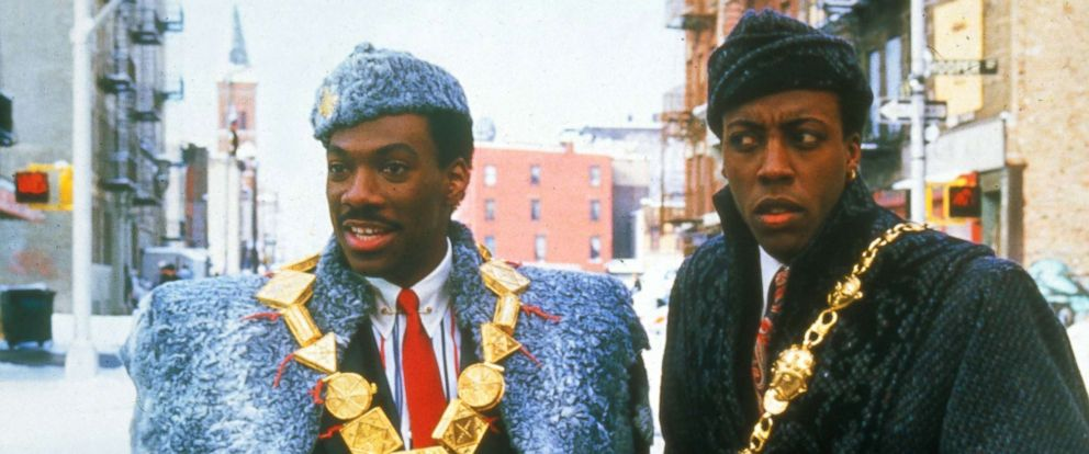 "PHOTO: Eddie Murphy, left, as Prince Akeem, and Arsenio Hall, as Semmi, in a scene from ""Coming to America."""