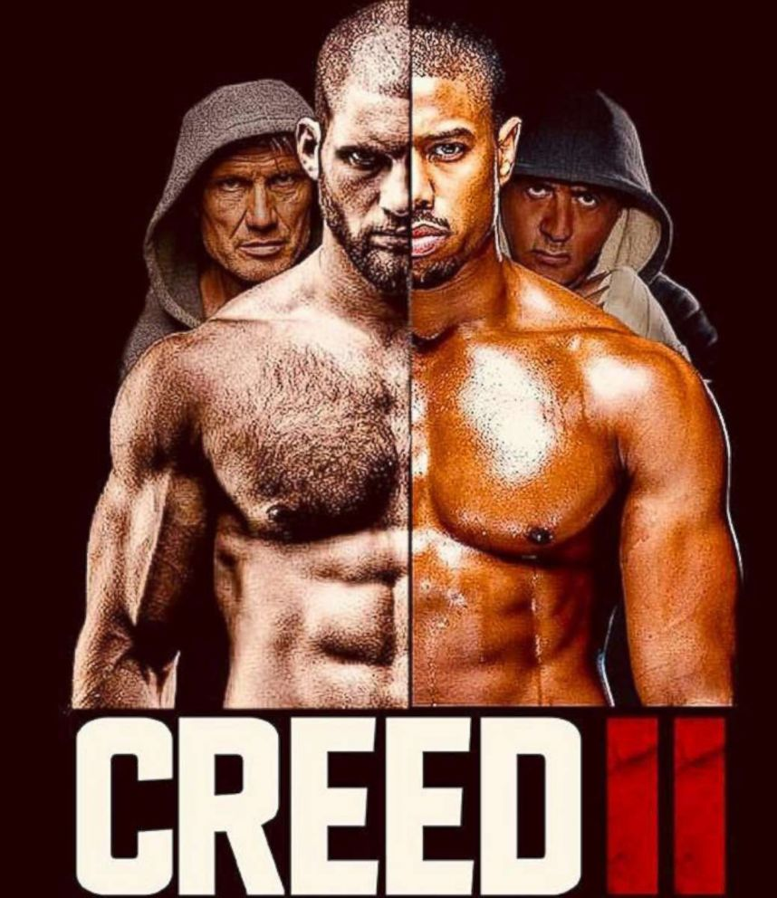 PHOTO: Dolph Lundgren, Florian Munteanu, Michael B. Jordan and Sylvester Stallone are pictured in a poster for the 2018 film, Creed II.