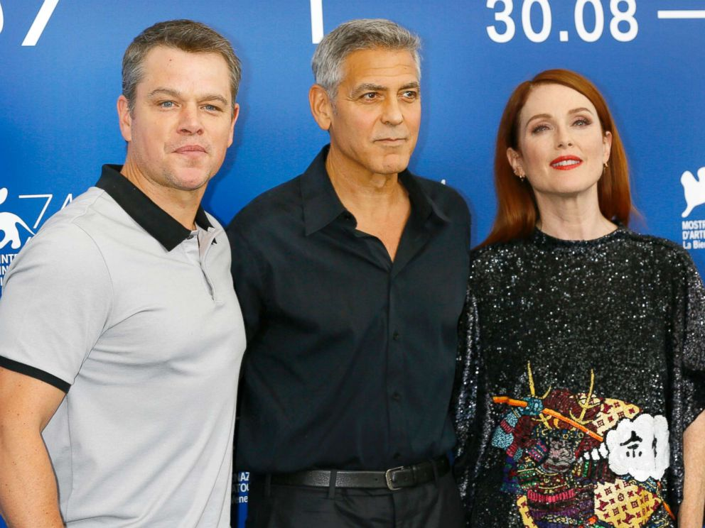 PHOTO: Matt Damon, George Clooney and Julianne Moore attend the Suburbicon photocall during the 74th Venice Film Festival, Sept. 2, 2017, in Venice, Italy.