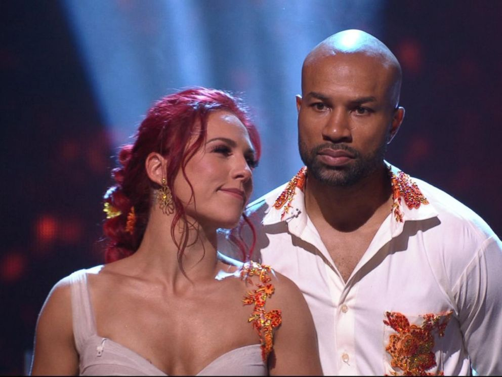 PHOTO: Pro dancer Sharna Burgess and Derek Fisher appear on Dancing with the Stars, Oct. 9, 2017.