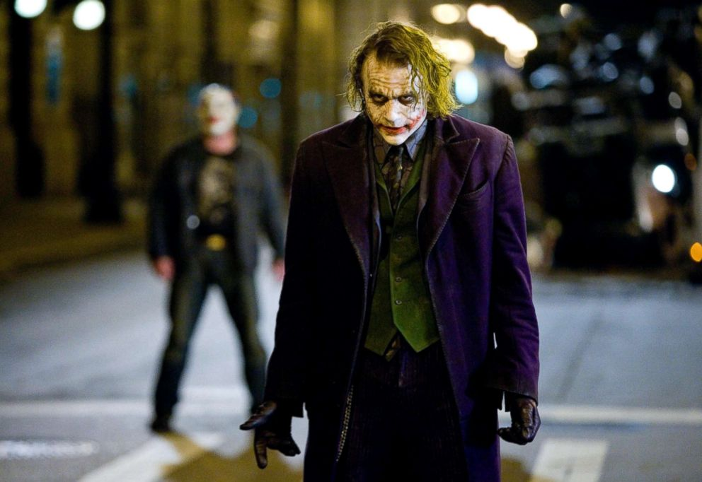"""Heath Ledger, as Joker, in a scene from """"The Dark Knight."""""""
