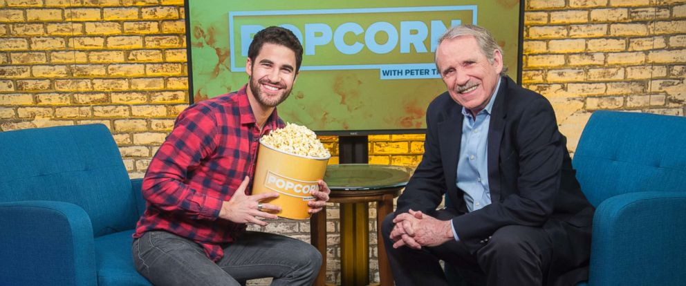 "PHOTO: Darren Criss appears on ""Popcorn with Peter Travers"" at ABC News studios, Jan. 31, 2018, in New York City."