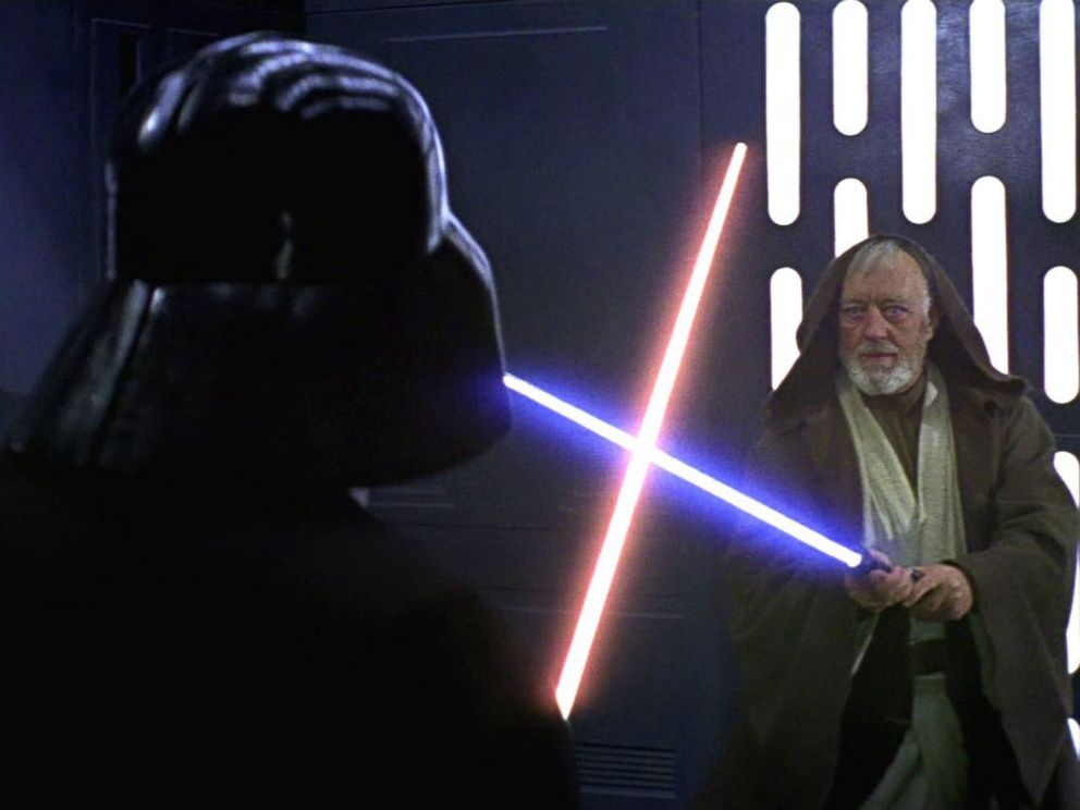 PHOTO: A scene from the original Star Wars trilogy of Obi-Wan Kenobis duel with Darth Vader, 1977.
