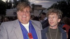 'PHOTO: Chris Farley and David Spade1_b@b_1the 2nd annual MTV Movie Awards, June 5, 1993.' from the web at 'https://s.abcnews.com/images/Entertainment/david-spade-chris-farley-gty-hb-171218_16x9t_240.jpg'