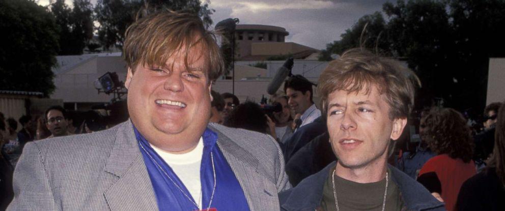 PHOTO: Chris Farley and David Spade at the 2nd annual MTV Movie Awards, June 5, 1993.