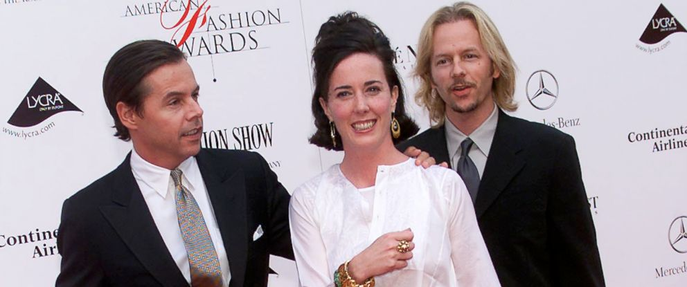 PHOTO:Kate Spade with husband Andy, left, and brother-in-law David Spade arrive at the 20th Annual American Fashion Awards at Avery Fisher Hall, Lincoln Center in New York City, June 14, 2001.