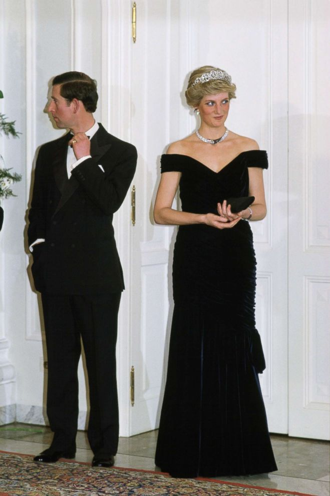 PHOTO: The Prince And Princess Of Wales in Germany, Diana wearing a dress designed by fashion designer Victor Edelstein, on Nov. 2, 1987.