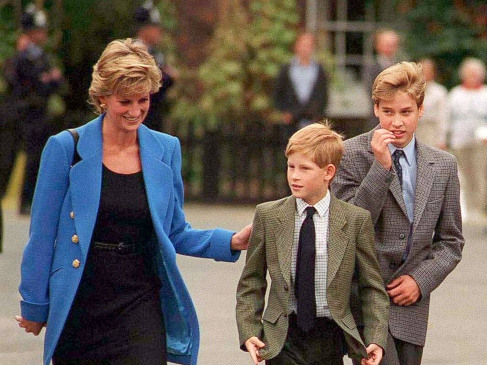 PHOTO: Prince Harry, center, with his mother, Diana, Princess of Wales and his brother Prince William, in September 1995.
