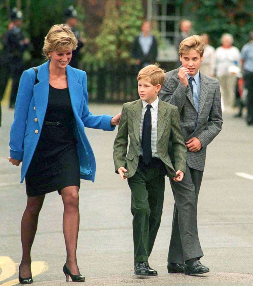 PHOTO: Princess Diana, Prince Harry and Prince William arrive at Eton College for Williams first day of school, Sept. 16, 1995, in Windsor, England.