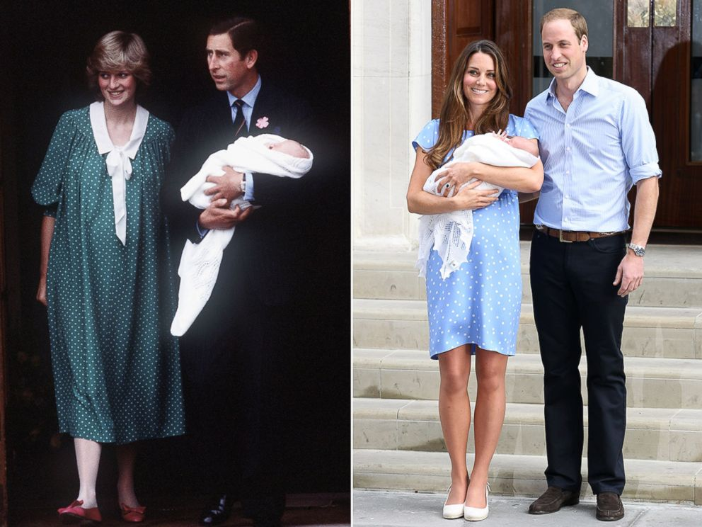 PHOTO: Charles, Prince of Wales and Diana, Princess of Wales leave St Marys Hospital with Prince William on June 22, 1982, London. Prince William, Duke of Cambridge, Catherine, Duchess of Cambridge and their newborn son George on July 23, 2013 in London.