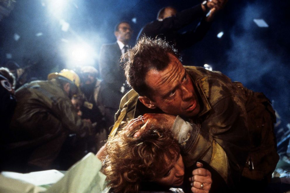 PHOTO: Bonnie Bedelia is held down by Bruce Willis in a scene from the film Die Hard, 1988.