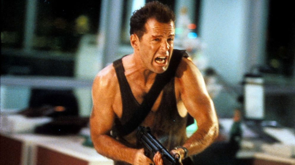 Bruce Willis in a scene from the film 'Die Hard', 1988.
