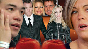 Divorced couples; Kate and Jon Gosselin, Madonna and Guy Ritchie and Denise Richards and Charlie Sheen.