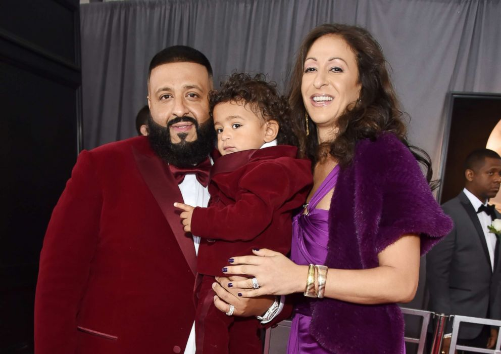 PHOTO: DJ Khaled, son Asahd Tuck Khaled and wife Nicole Tuck attend the 60th annual Grammy Awards at Madison Square Garden, Jan. 28, 2018, in New York City.