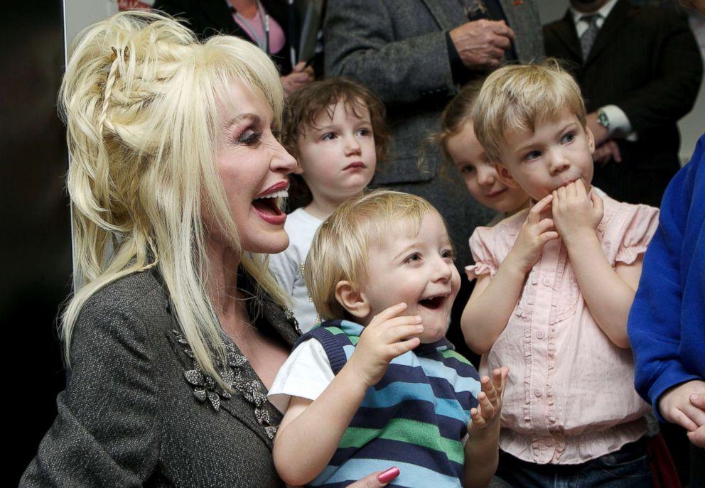 PHOTO: Dolly Parton launches the UK version of her non-profit, Imagination Library, in Aughton, England.