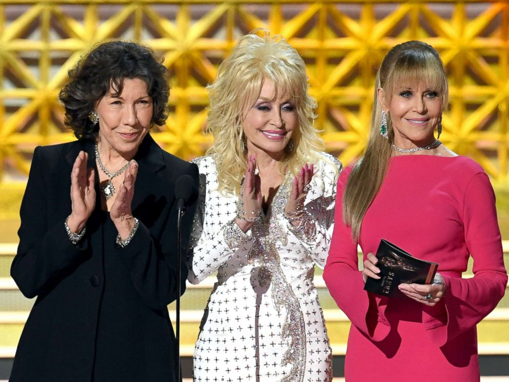 PHOTO: Lily Tomlin, Dolly Parton and Jane Fonda speak onstage during the 69th Annual Primetime Emmy Awards at Microsoft Theater on Sept. 17, 2017 in Los Angeles.
