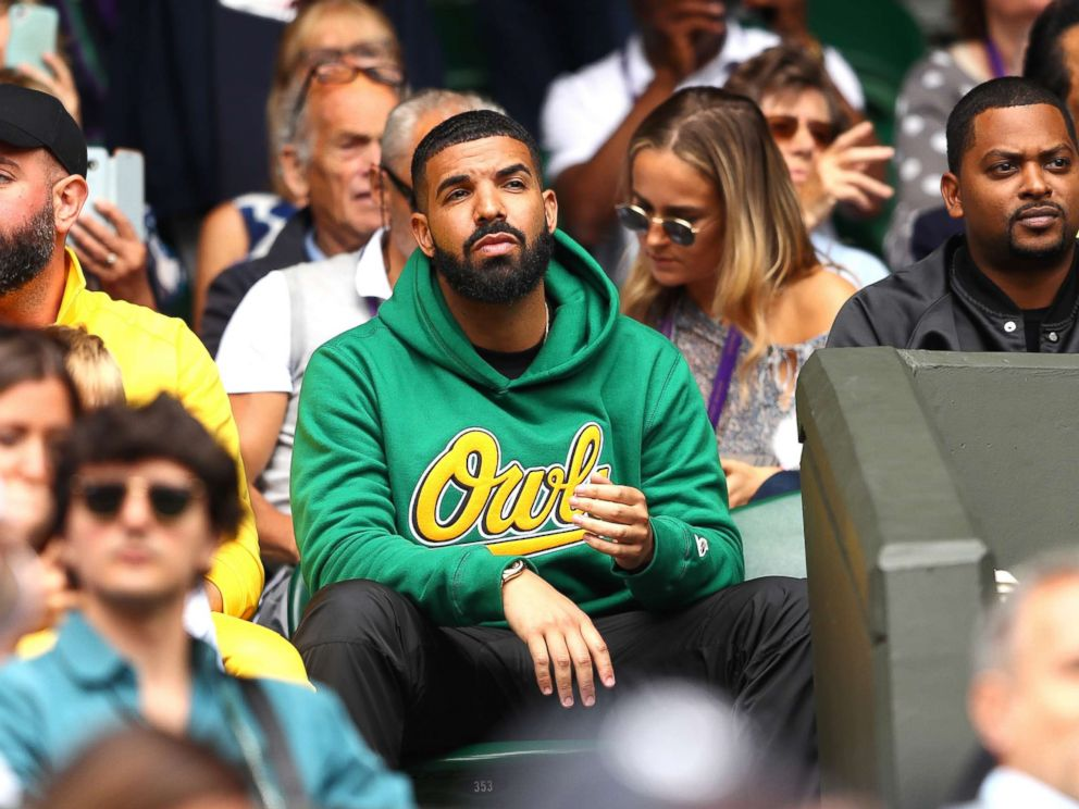 PHOTO: Rapper Drake attends day eight of the Wimbledon Lawn Tennis Championships at All England Lawn Tennis and Croquet Club, July 10, 2018 in London.
