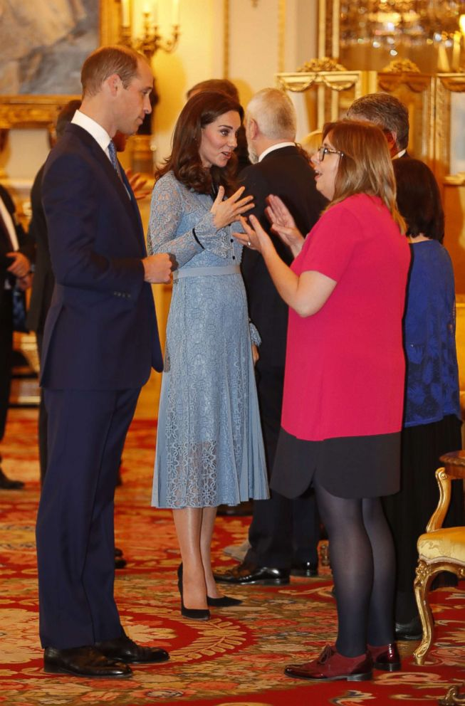 PHOTO: Britains Prince William, Duke of Cambridge and Catherine, Duchess of Cambridge attend a reception at Buckingham Palace to celebrate World Mental Health Day in central London, Oct. 10, 2017.