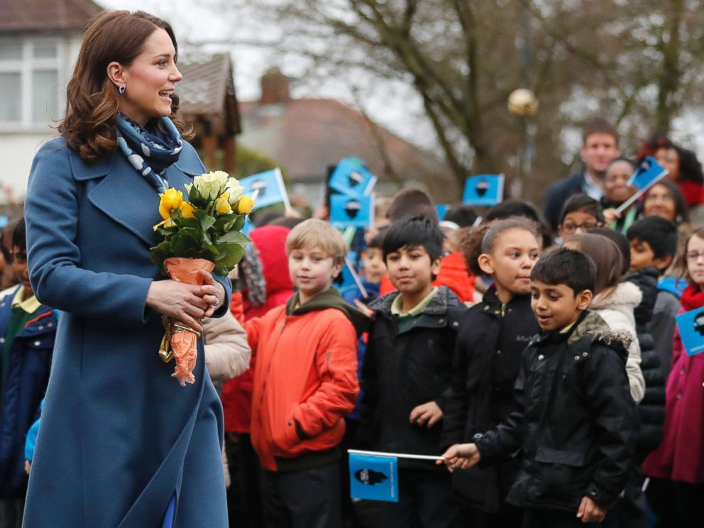 PHOTO: Britains Kate, The Duchess of Cambridge, arrives for a visit to Roe Green Junior School in London, Jan. 23, 2018.
