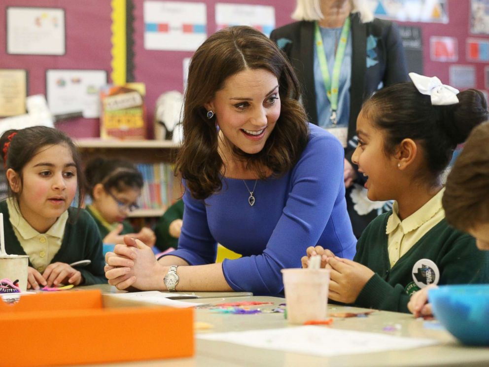 PHOTO: The Duchess of Cambridge meets Year 3 pupils at Roe Green Junior School in Brent, London as she launches a mental health programme for schools as part of the Heads Together campaign, Jan. 23, 2018.