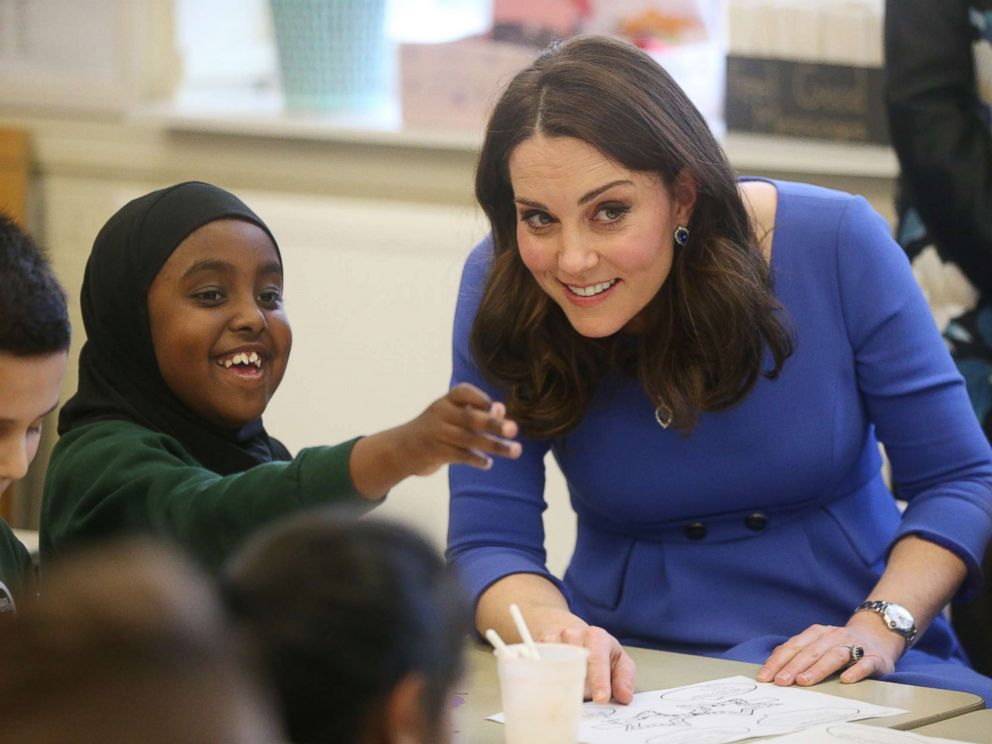 PHOTO: The Duchess of Cambridge meets Year 3 pupils at Roe Green Junior School in Brent, London as she launches a mental health program for schools as part of the Heads Together campaign, Jan. 23, 2018.