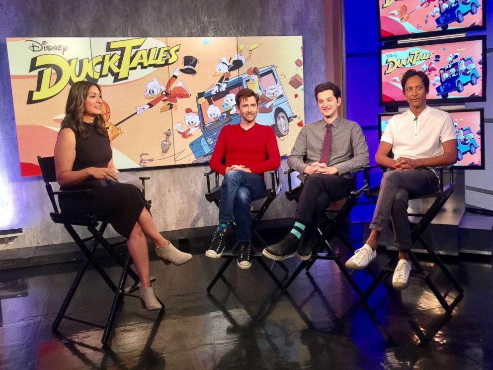 PHOTO: Amna Nawaz, David Tennant, Ben Schwartz and Danny Pudi at the ABC News studios in New York City, Aug. 8, 2017.