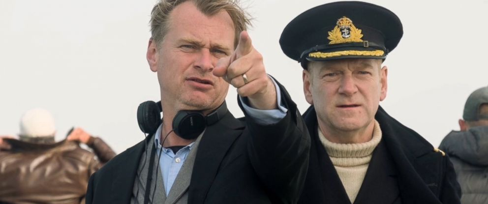"""PHOTO: Director Christopher Nolan and Kenneth Branagh on the set of """"Dunkirk,"""" 2017."""