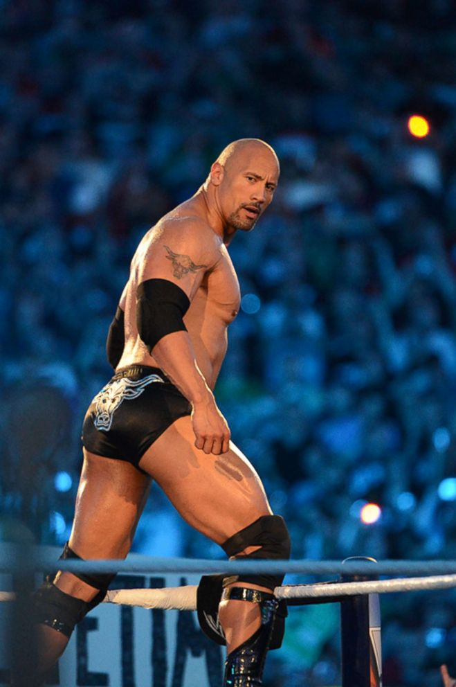 PHOTO: Dwayne The Rock Johnson looks on during his match against John Cena during WrestleMania XXVIII at Sun Life Stadium on April 1, 2012 in Miami Gardens, Florida.