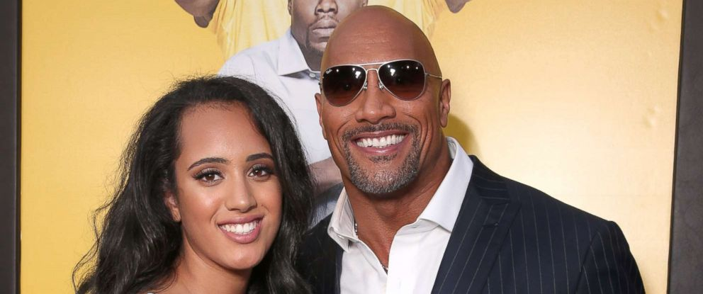 "PHOTO: Dwayne Johnson with his daughter Simone Alexandra Johnson at the premiere Of Warner Bros. Pictures ""Central Intelligence"" at Westwood Village Theatre on June 10, 2016 in Westwood, California."