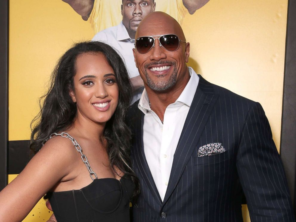 PHOTO: Dwayne Johnson with his daughter Simone Alexandra Johnson at the premiere Of Warner Bros. Pictures Central Intelligence at Westwood Village Theatre on June 10, 2016 in Westwood, California.