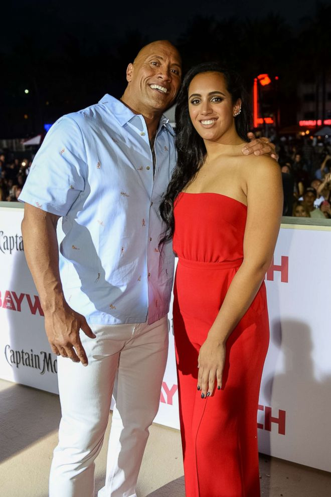 PHOTO: Dwayne Johnson and daughter Simone Johnson attend Paramount Pictures World Premiere of Baywatch on May 13, 2017 in Miami.