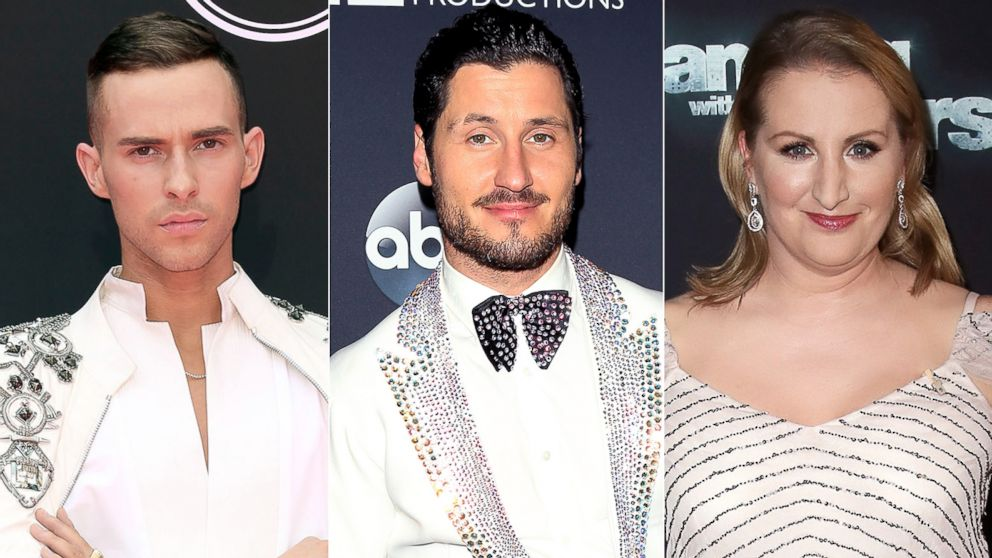 Pictured (L-R) are Adam Rippon, Valentin Chmerkovskiy and Mandy Moore.