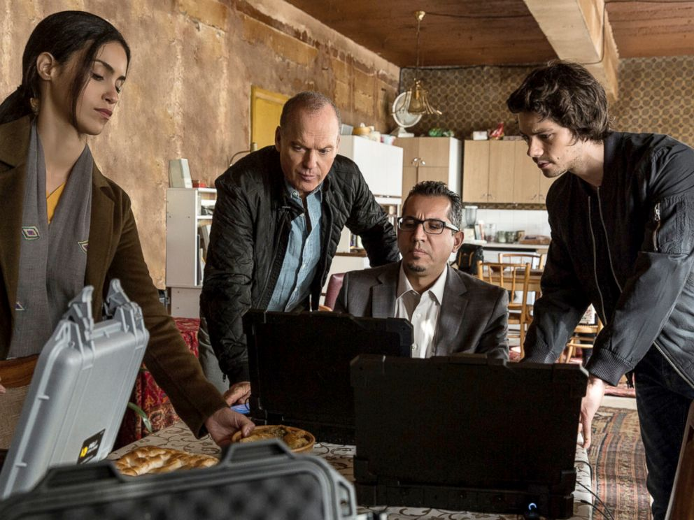 PHOTO: Shiva Negar, Michael Keaton, Neg Adamson and Dylan OBrien in a scene from American Assassin.