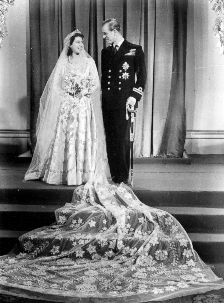 PHOTO: Queen Elizabeth II, as Princess Elizabeth, and her husband the Duke of Edinburgh on their wedding day, Nov. 20, 1947.