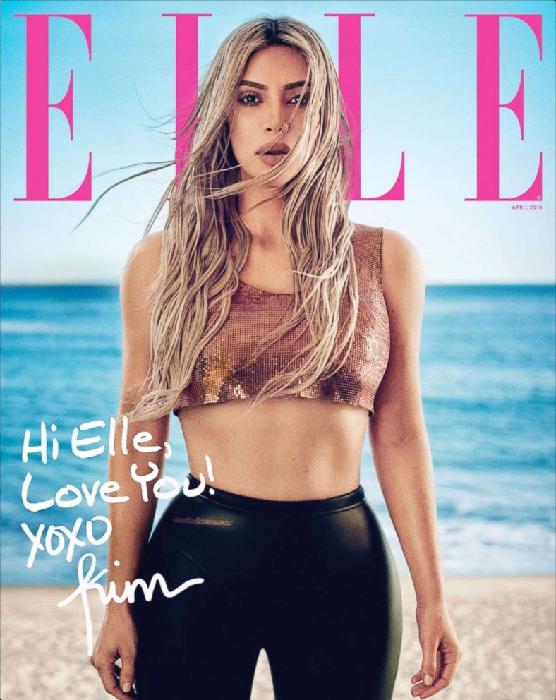 PHOTO: Kim Kardashian West appears on the cover of the April issue of Elle.