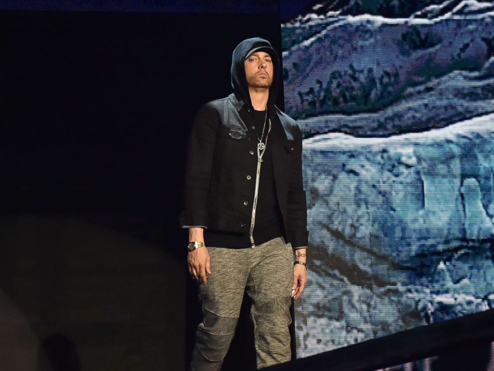 PHOTO: Eminem performs on stage during the MTV EMAs 2017 held at The SSE Arena, Wembley, Nov. 12, 2017 in London.