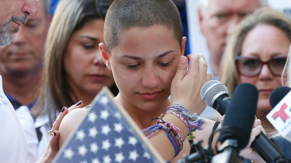 Marjory Stoneman Douglas High School student Emma Gonzalez speaks at a rally for gun control at the Broward County Federal Courthouse in Fort Lauderdale, Fla., Feb. 17, 2018.