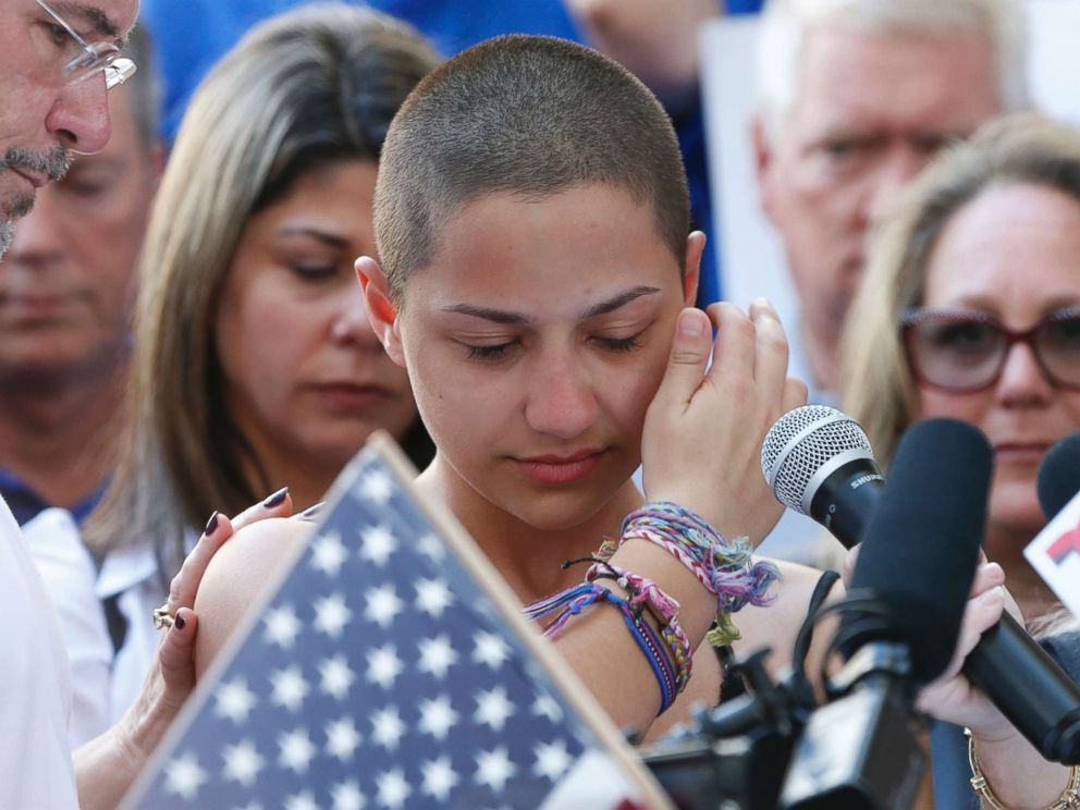 PHOTO: Marjory Stoneman Douglas High School student Emma Gonzalez speaks at a rally for gun control at the Broward County Federal Courthouse in Fort Lauderdale, Fla., Feb. 17, 2018.