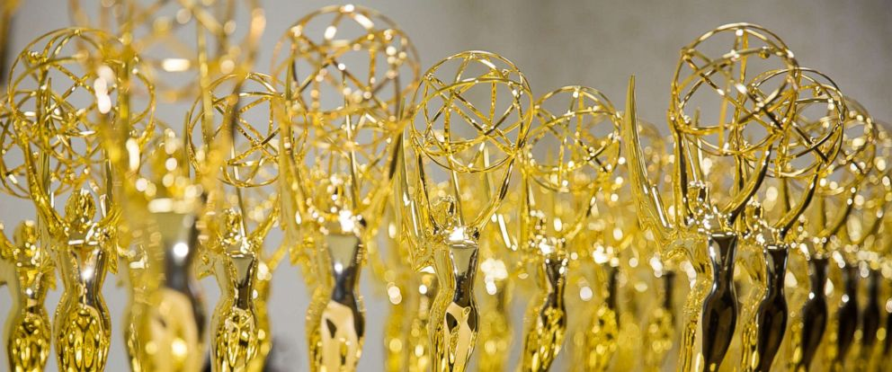 PHOTO: A display of Daytime Emmy Trophies is pictured at The National Academy of Television Arts & Sciences on April 29, 2016, in Los Angeles.