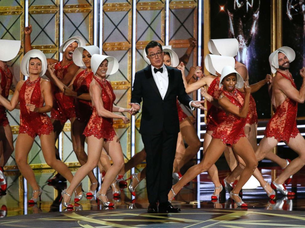 PHOTO: Stephen Colbert opens the 69th Primetime Emmy Awards in Los Angeles on Sept. 17, 2017.